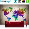 Vlies Fototapete no. 3177 | Welt Tapete Weltkarte, Polygone, Graffiti bunt | liwwing (R)