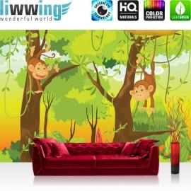 PREMIUM Fototapete - no. 94 | Jungle Animals Monkeys | Kinderzimmer Safari Comic Affen Dschungel