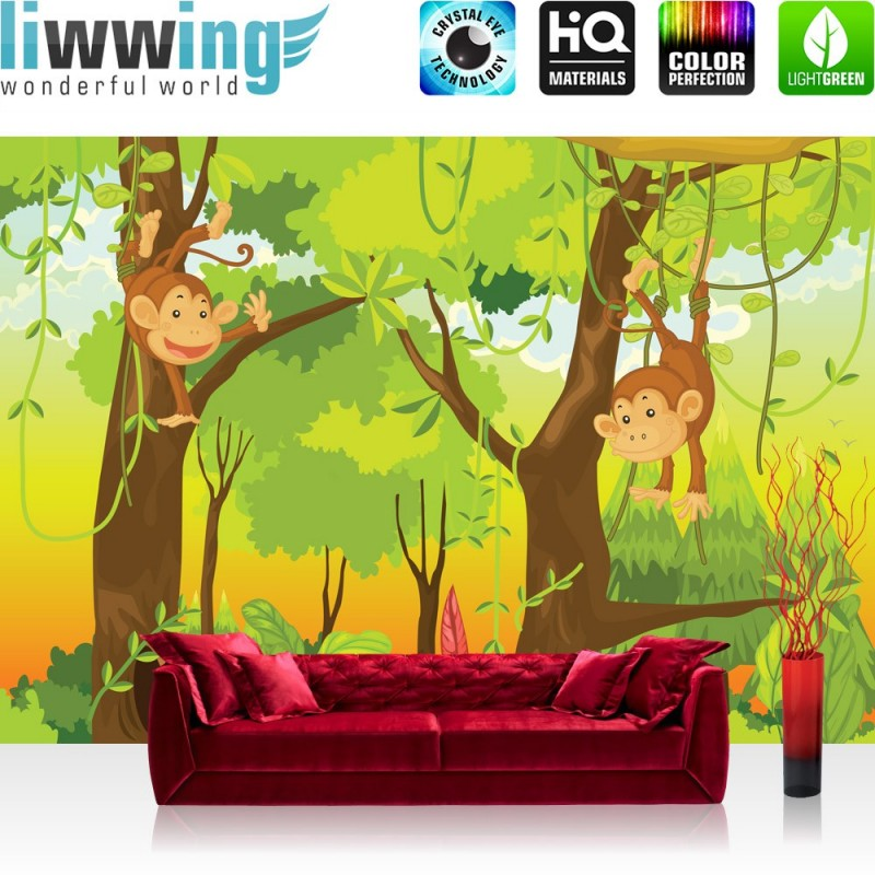 vlies fototapete jungle animals monkeys kindertapete tapete kinderzimmer saf ebay. Black Bedroom Furniture Sets. Home Design Ideas