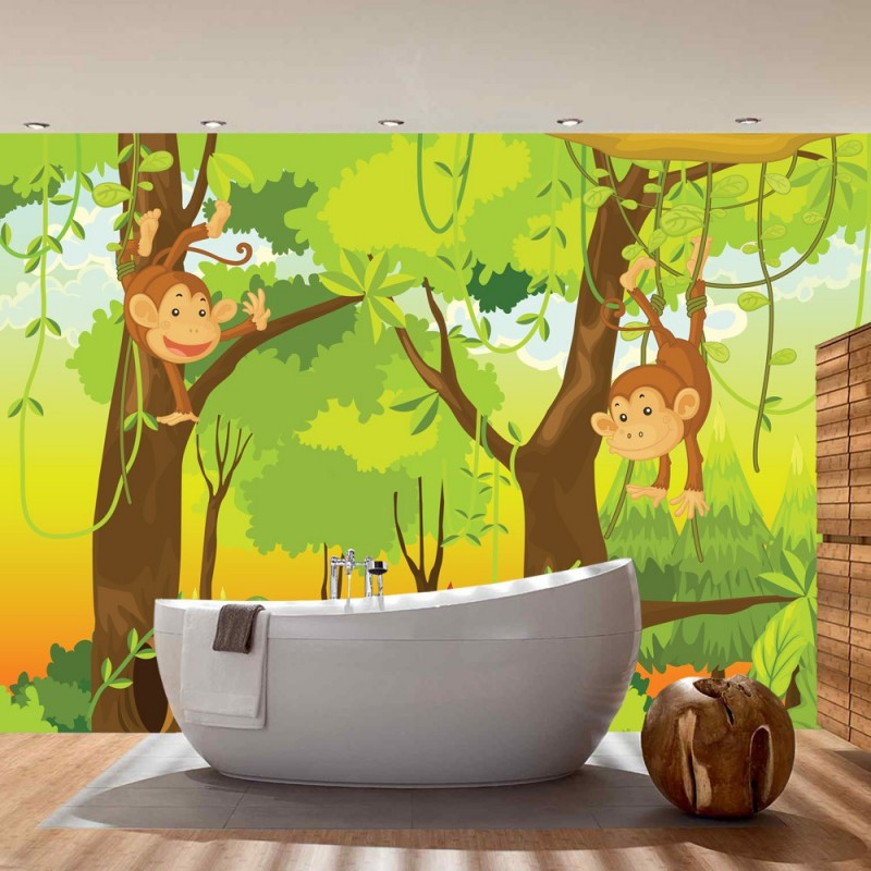Vlies Fototapete Jungle Animals Monkeys | Kindertapete Tapete ...
