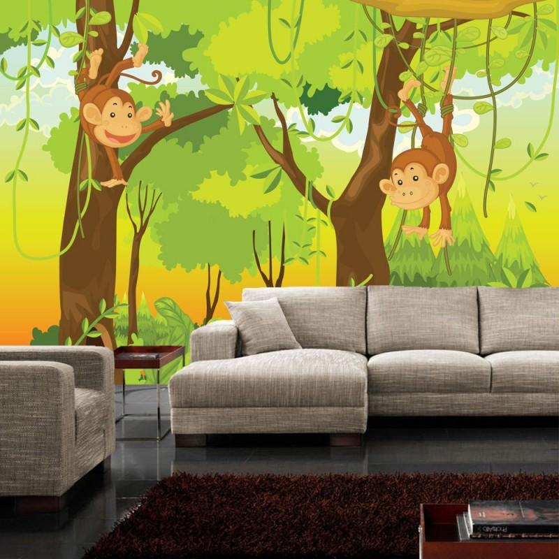 vlies fototapete jungle animals monkeys kindertapete. Black Bedroom Furniture Sets. Home Design Ideas