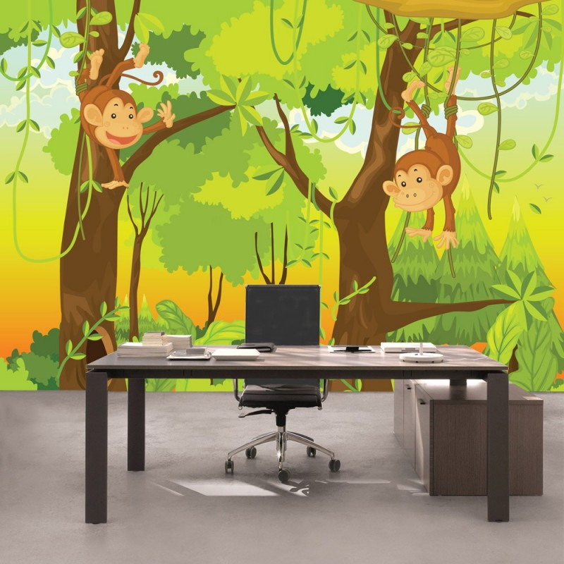 "Hervorragend Fototapete ""Jungle Animals Monkeys"" 