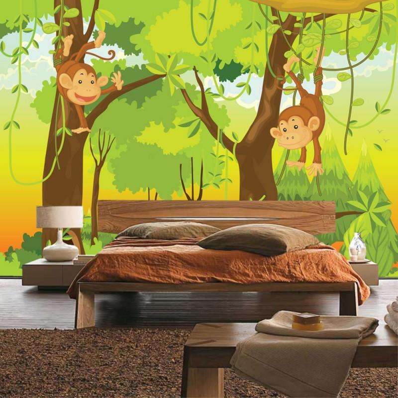 Vlies fototapete jungle animals monkeys kindertapete tapete kinderzimmer safari comic affen dschungel affchen grun.jpg