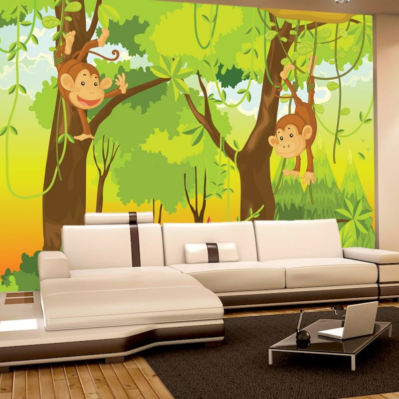 Dschungel Tapete Kinderzimmer | Vlies Fototapete Jungle Animals Monkeys Kindertapete Tapete