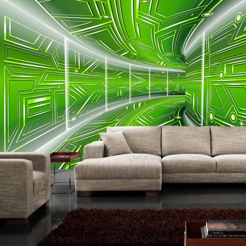 vlies fototapete no 3212 vliestapete liwwing r 3d tapete space raumstation micro gr n. Black Bedroom Furniture Sets. Home Design Ideas