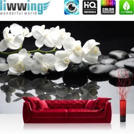 PREMIUM Fototapete - no. 97 | White Orchids an Black Stones | Orchidee Blumen Blumenranke Rosa Natur