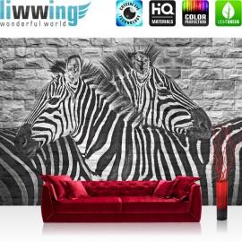 Vlies Fototapete no. 3226 | Graffiti Tapete Steinwand, Mauer, Zebras schwarz - weiß | liwwing (R)