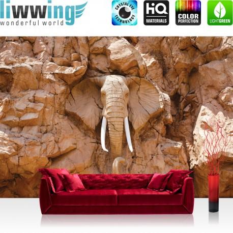 Vlies Fototapete no. 3227 | Afrika Tapete Elephant, Elefant, Steinwand, Elfenbein braun | liwwing (R)