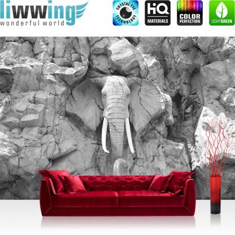 Vlies Fototapete no. 3229 | Afrika Tapete Elephant, Elefant, Steinwand, Elfenbein schwarz - weiß | liwwing (R)