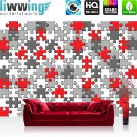 Vlies Fototapete no. 3241 | Cartoon Tapete Puzzle, grau, rot, mehrfarbig bunt | liwwing (R)