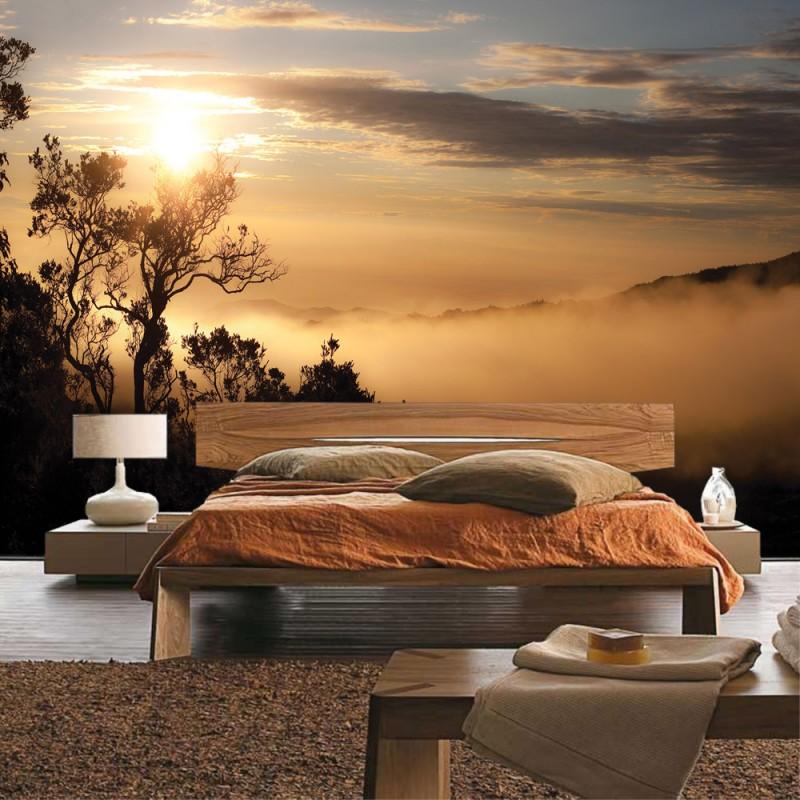 vlies fototapete no 3250 vliestapete liwwing r landschaft tapete b ume berge nebel orange. Black Bedroom Furniture Sets. Home Design Ideas