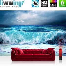 PREMIUM Fototapete - no. 100 | Blue Seascape | Ozean Meer Wasser See Welle Sturm Blau Türkis