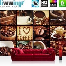 Vlies Fototapete no. 3277 | Kulinarisches Tapete Kaffee, Barista, Kaffeebohnen, Rahmen schwarz braun | liwwing (R)
