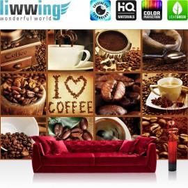 Vlies Fototapete no. 3278 | Kulinarisches Tapete Kaffee, Barista, Kaffeebohnen, Rahmen braun braun | liwwing (R)