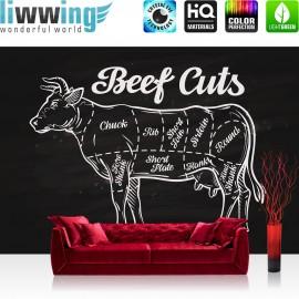 Vlies Fototapete no. 3281 | Kulinarisches Tapete Beef Cuts, Fleischschnitte, Rind, Rindfleisch schwarz - weiß | liwwing (R)