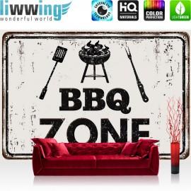 Vlies Fototapete no. 3282 | Kulinarisches Tapete BBQ Zone, Grill Zone, Grill, grillen schwarz - weiß | liwwing (R)