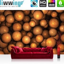 Vlies Fototapete no. 3291   3D Tapete Perlen, Kugeln, Murmeln, Holz braun   liwwing (R)