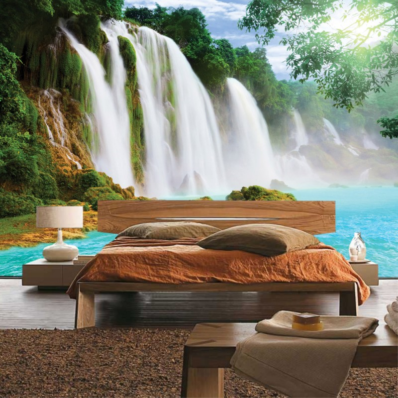 vlies fototapete no 3296 vliestapete liwwing r wasser tapete wasserfall dschungel see. Black Bedroom Furniture Sets. Home Design Ideas
