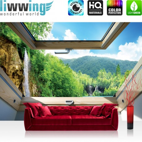 Vlies Fototapete no. 3301 | Berge Tapete Wasserfall, See, Wald, Mittelgebirge, Fenster natural | liwwing (R)