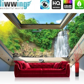Vlies Fototapete no. 3304 | Berge Tapete Wasserfall, Wald, Fenster, Tropen natural | liwwing (R)