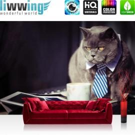 Vlies Fototapete no. 3307   Tiere Tapete Katze, Siam, Schlips, Krawatte, Kaffeetasse bunt   liwwing (R)