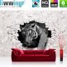Vlies Fototapete no. 3309 | Tiere Tapete Tiger, Mauer, Durchbruch schwarz - weiß | liwwing (R)