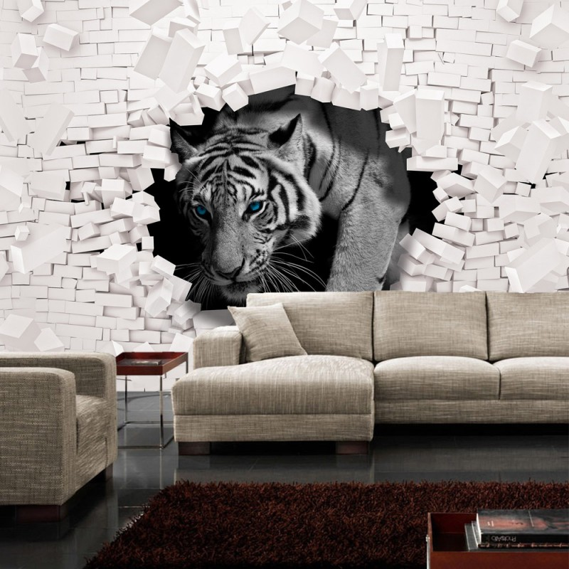 vlies fototapete no 3309 vliestapete liwwing r tiere tapete tiger mauer durchbruch. Black Bedroom Furniture Sets. Home Design Ideas
