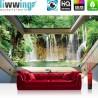 Vlies Fototapete no. 3317 | Wasser Tapete Wasserfall, See, Fluss, Wald, Fenster natural | liwwing (R)