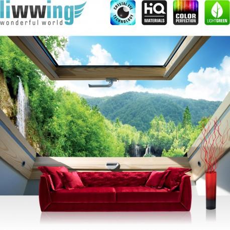 Vlies Fototapete no. 3322 | Berge Tapete Wasserfall, Wald, Mittelgebirge, Fenster natural | liwwing (R)