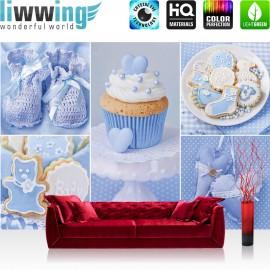 Vlies Fototapete no. 3337 | Jungen Tapete Cupcake, Baby, Babyschuhe, Kekse blau | liwwing (R)