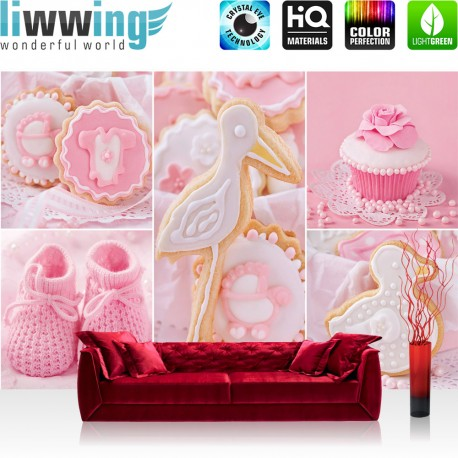 vlies fototapete no 3338 vliestapete liwwing r m dchen tapete cupcake storch baby. Black Bedroom Furniture Sets. Home Design Ideas