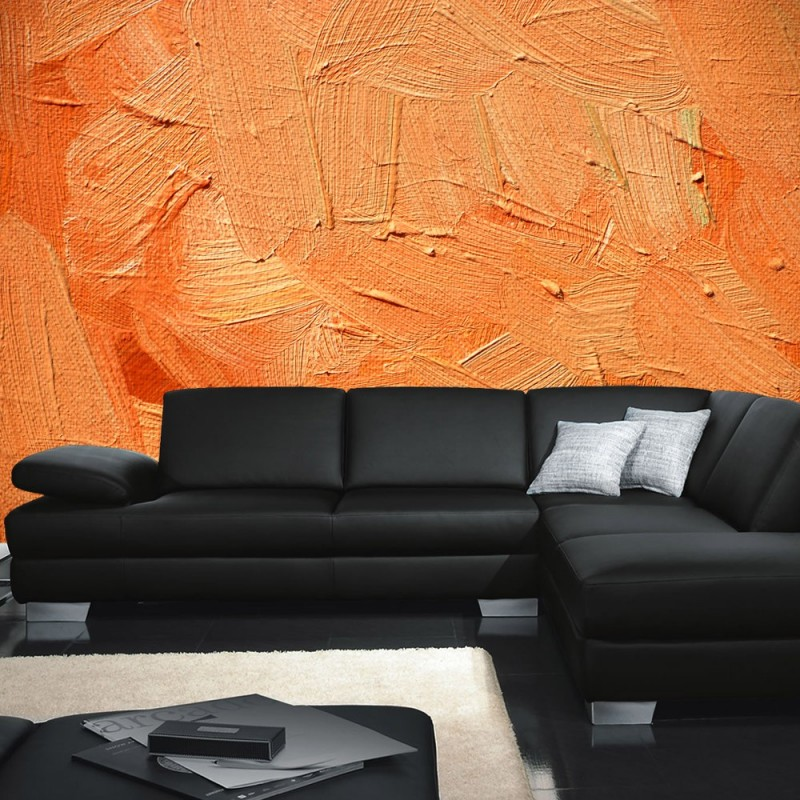 Wand tapete vlies fototapete no 158 steinwand tapete for Tapete orange
