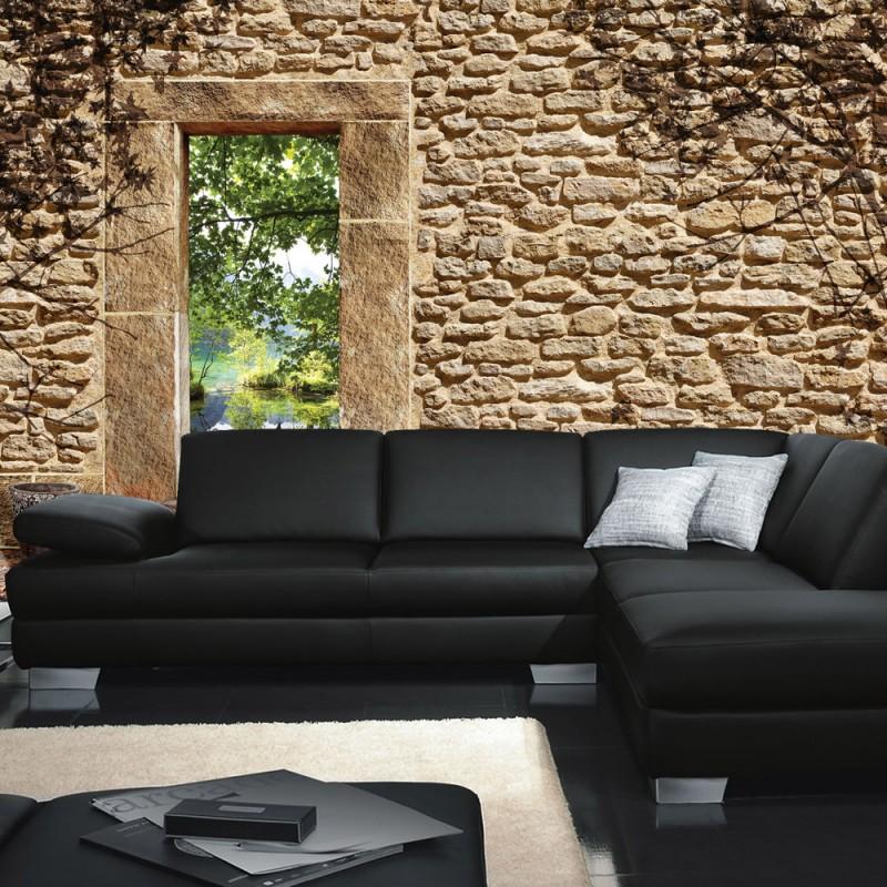 Good Steinwand Tapete Naturstein Feldstein Sandstein Mediterran Natural  With Sofa Mediterran