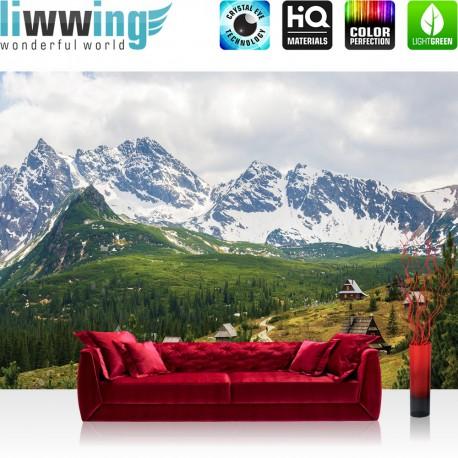 Vlies Fototapete no. 3349 | Berge Tapete Karpaten, Riesengebirge, Nadelwald, Almhütten natural | liwwing (R)