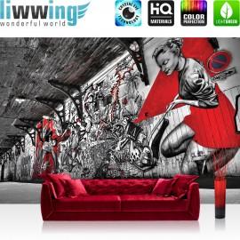 Vlies Fototapete no. 3359 | Graffiti Tapete Pop Art, Street Art, Bretterwand natural | liwwing (R)