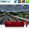 Vlies Fototapete no. 3361 | Brücken Tapete Wildnis, Wald, Stahlbrücke, Fluss, Gewitterhimmel natural | liwwing (R)
