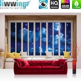 Vlies Fototapete no. 3424   Himmel Tapete Vollmond, Mond, Wolken, Nachthimmel, Fenster natural   liwwing (R)