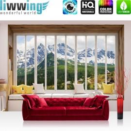 Vlies Fototapete no. 3430 | Berge Tapete Alpen, Karpaten, Riesengebirge, Schnee, Fenster natural | liwwing (R)