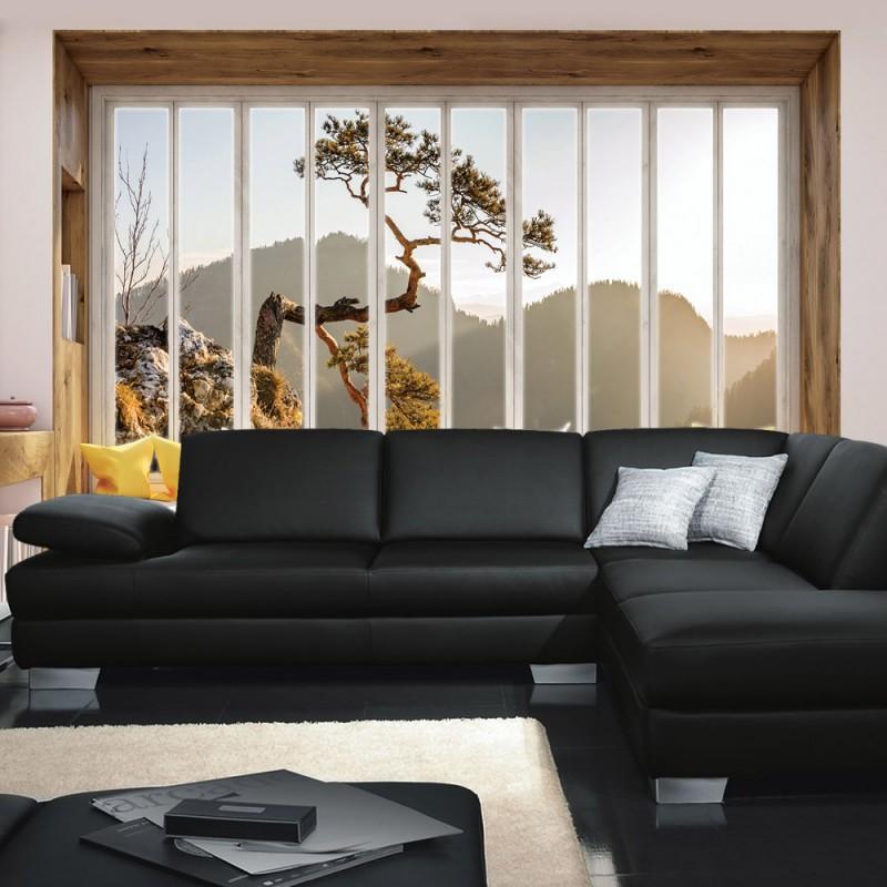 fototapete blick aus dem fenster berge. Black Bedroom Furniture Sets. Home Design Ideas
