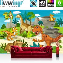 "Vlies Fototapete ""My first Dinos"" | Kindertapete Tapete Kindertapete Kinderzimmer Dino Dinosaurier Urzeit Trex bunt"