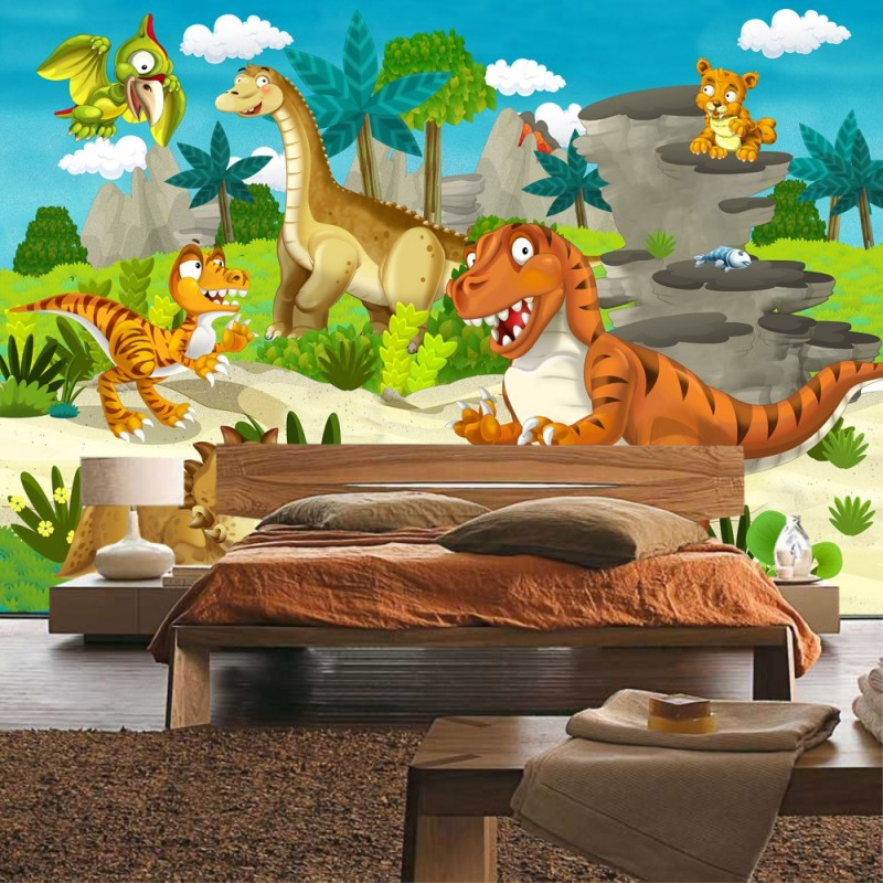 kinderzimmer tapete dino bibkunstschuur. Black Bedroom Furniture Sets. Home Design Ideas