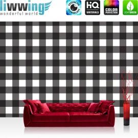 Vlies Fototapete no. 3452 | Texturen Tapete Pepita, Schachbrett, gewürfelt schwarz - weiß | liwwing (R)