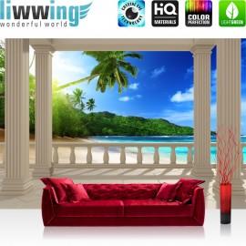 PREMIUM Fototapete - no. 121 | Terrace View Caribbean Beach | Seeblick 3D Strand Meer Sonne Palmen