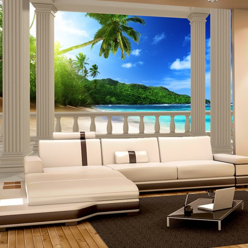 vlies fototapete terrace view caribbean beach meer. Black Bedroom Furniture Sets. Home Design Ideas