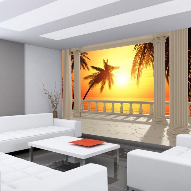 vlies fototapete terrace view romantic sunset meer. Black Bedroom Furniture Sets. Home Design Ideas