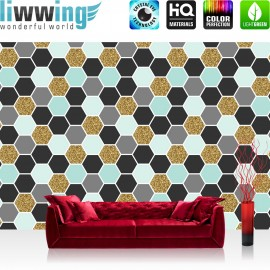Vlies Fototapete no. 3490   Texturen Tapete Hexagone, Polygone, Sechsecke bunt   liwwing (R)
