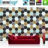 Vlies Fototapete no. 3490 | Texturen Tapete Hexagone, Polygone, Sechsecke bunt | liwwing (R)