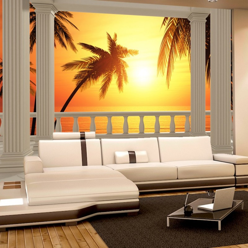 vlies fototapete terrace view romantic sunset meer. Black Bedroom Furniture Sets. Home Design Ideas