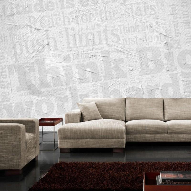 vlies fototapete wall of big words schriftkunst tapete. Black Bedroom Furniture Sets. Home Design Ideas