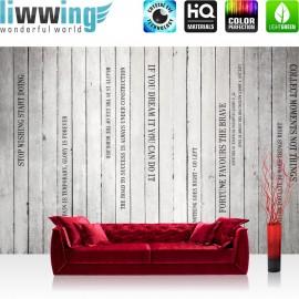 "Vlies Fototapete ""Words on Wooden Wall II"" | Schriftkunst Tapete Holzoptik Holzwand Paneel mit Text weiß Brett grau"